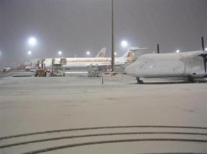 Nieve en el Aeropuerto Internacional de Barajas