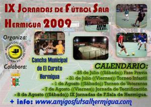 Cartel IX Jornadas de Fútbol Sala Hermigua 2009