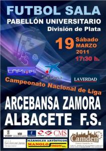 Cartel del encuentro Zamora - Albacete Fútbol Sala