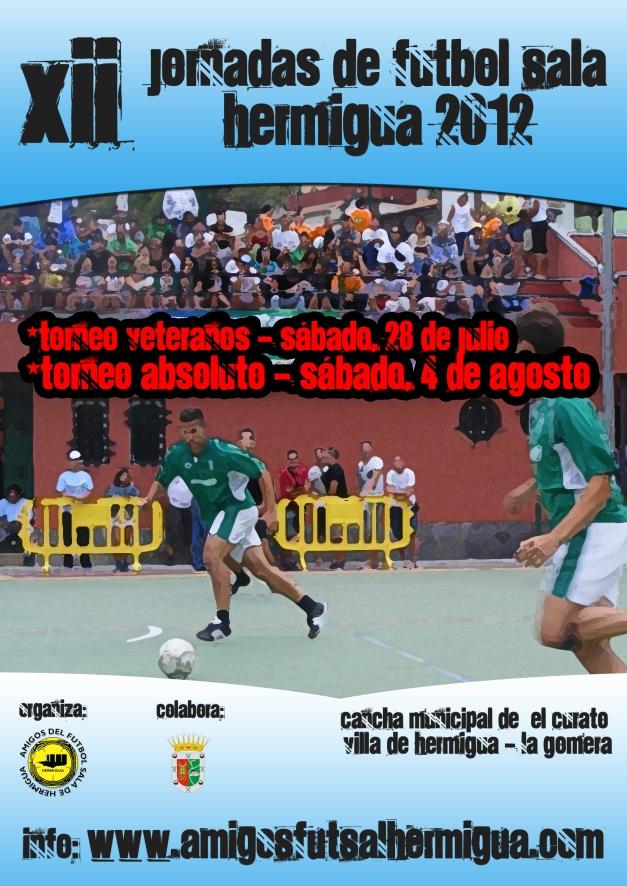 Cartel XII Jornadas de Fútbol Sala Hermigua 2012