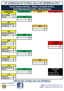 Cuadro XII Jornadas de Fútbol Sala de Hermigua 2012