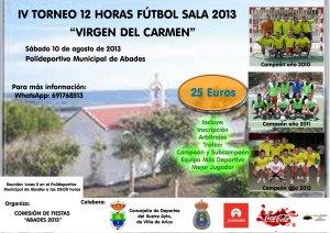 Cartel IV Torneo 12 Horas Fútbol Sala Virgen del Carmen 2013 ABADES