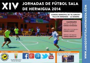 Cartel XIV Jornadas de Fútbol Sala de Hermigua 2014
