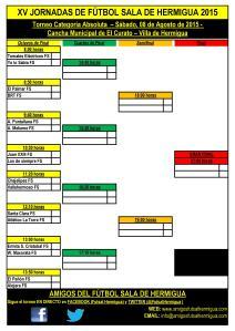 Cuadro XV Jornadas de Fútbol Sala de Hermigua 2015