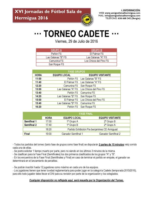 Torneo Cadete 2016