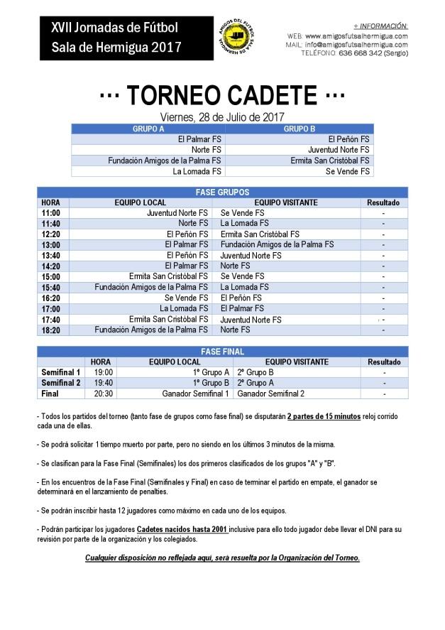 2017 - Cuadrante Torneo Cadetes