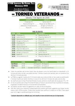 2018 - Cuadrante Torneo Veteranos