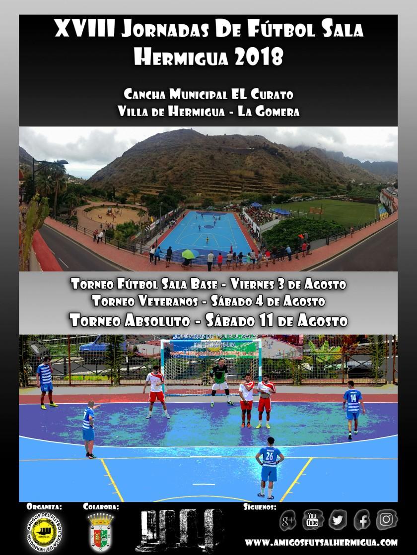 Cartel XVIII Jornadas de Fútbol Sala de Hermigua 2018