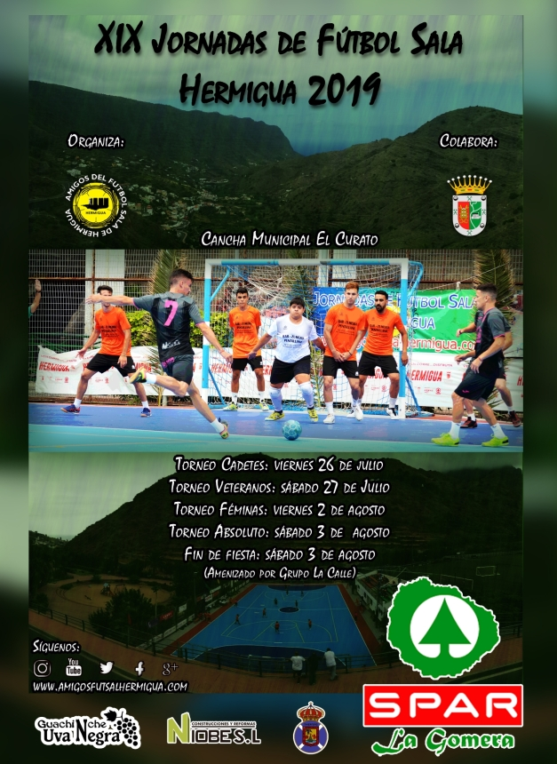 Cartel XIX Jornadas Futbol Sala Hermigua 2019